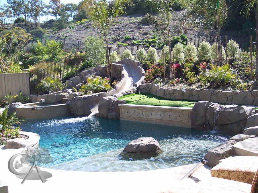 Pools spas for Back yard pool designs